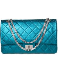 Chanel Metallic Teal Quilted Leather Jumbo Reissue 2.55 Classic 227 Flap Bag - Green
