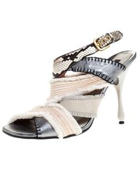 Marc Jacobs Multicolour Canvas, Leather And Python Slingback Sandals