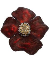 Alexis Bittar Georgian Flower Pin Brooch - Red