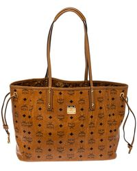 MCM Cognac Visetos Coated Canvas Project Reversible Shopper Tote - Brown