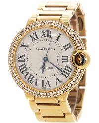 Cartier - Ballon Bleu 18k Yellow & Diamonds 3002 Women's Wristwatch 36mm - Lyst