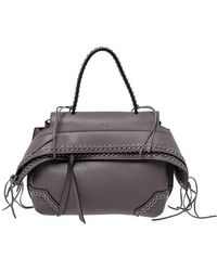 Tod's Grey Leather Monospalla Rings Top Handle Bag - Gray