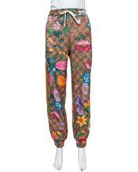 Gucci Brown Knit Flora GG Supreme Pattern Track Trousers