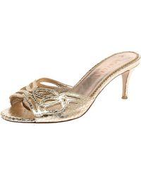 Le Silla Golden Python Embossed Leather Laser Cut Slide Sandals - Metallic