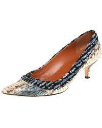 Oscar de la Renta Multicolour Python Embossed Leather And Fabric Pointed Toe Pumps - Blue