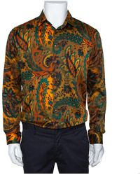 Etro Mustard Orange Cotton Exploded Paisley Print Button Front Shirt L