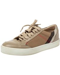 Burberry Beige Leather And Nova Check Canvas Low Top Trainers - Natural