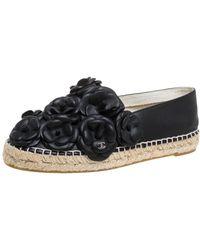 Chanel - Black Leather Cc Camellia Espadrilles - Lyst