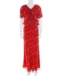 Dior Red Printed Gathered Ruffle Detail Maxi Dress S