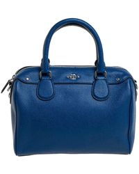 COACH Blue Leather Mini Bennett Satchel