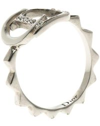 Dior Logo Crystal Enamel Silver Tone Ring Size 53 - Metallic