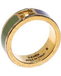 Fendi The Sta Bicolor Enamel Gold Tone Band Ring - Metallic