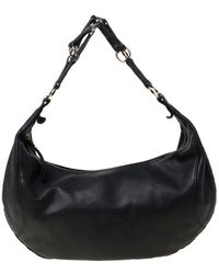 Longchamp Black Leather Spider Strap Hobo