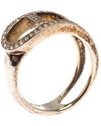 Aigner Gold Tone Crystal Embellished Ring - Metallic