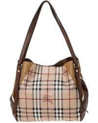 Burberry Beige Haymarket Check Coated Canvas And Leather Small Canterbury Tote - Natural