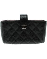Chanel - Quilted Leather Iphone Pouch - Lyst