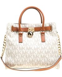 MICHAEL Michael Kors - /brown Coated Canvas And Leather East West Hamilton Tote - Lyst