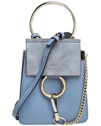 Chloé Light Blue Leather And Suede Mini Faye Crossbody Bag