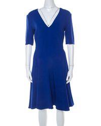Stella McCartney Blue Stretch Crepe Asymmetrical Hem Flared Dress