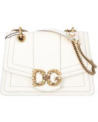 Dolce & Gabbana Small Dg Amore Bag In Calfskin - White