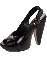 Marc Jacobs Black Leather Crisscross Slingback Platform Sandals