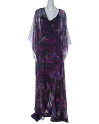 Matthew Williamson Purple Printed Silk Long Folded Hemline Kaftan Dress