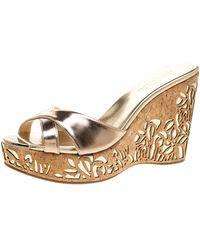 Jimmy Choo Metallic Gold Leather Prova Laser Cut Cork Wedge Sandals