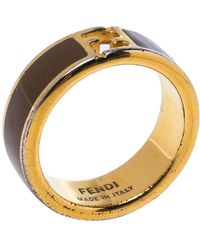 Fendi The Sta Bi-color Enamel Gold Tone Band Ring - Brown
