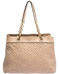 Tory Burch Beige Quilted Leather Fleming Tote - Natural
