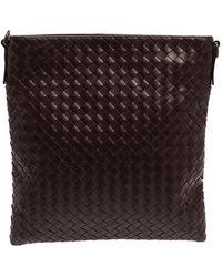 Bottega Veneta Burgundy Intrecciato Leather Messenger Bag - Multicolour