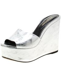 Sergio Rossi Leather Mules & Clogs - Metallic