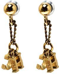 Carolina Herrera - Ch Gold Tone Drop Earrings - Lyst