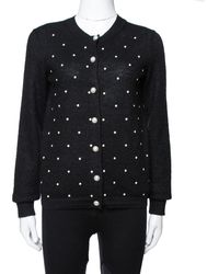 Chanel Black Bead Embellished Mohair Button Front Cardigan