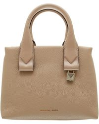 MICHAEL Michael Kors - Beige Pebbled Leather Small Rollins Satchel Bag - Lyst