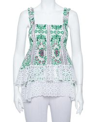 Tory Burch White Garden Party Printed Silk Smocked Tiered Top
