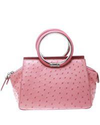 Dior Pink Ostrich Ring Handle Satchel