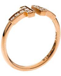 Tiffany & Co. T Square Diamond 18k Rose Gold Open Ring Size 52.5 - Metallic