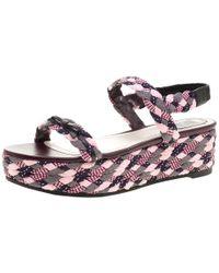 Dior - Braid Woven Ankle Strap Platform Sandals - Lyst