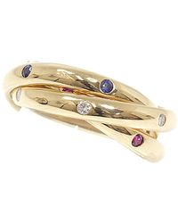 Cartier Constellation Trinity Sapphire/diamond/ruby 18k Yellow Gold Ring Size 49 - Metallic