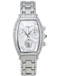 Balmain White Mother Of Pearl Stainless Steel Arcade Chronograph Women's Wristwatch - Metallic