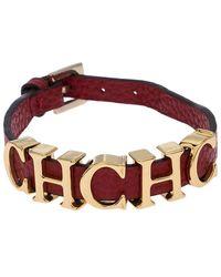 Carolina Herrera - Ch Logo Red Leather Gold Tone Bracelet - Lyst