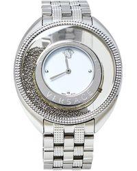 Versace White Stainless Steel Destiny Spirit 86q Wristwatch 39 Mm - Metallic