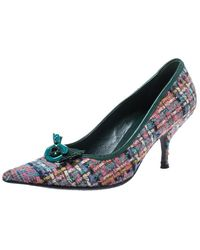 Miu Miu Multicolour Floral Embellished Tweed Pointed Toe Court Shoes - Blue