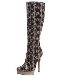 Missoni Black And Gold Patterned Knit Fabric Knee High Boots Size 37 - Metallic