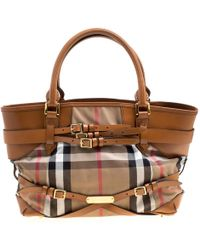 Burberry - House Check Canvas And Leather Medium Bridle Lynher Tote - Lyst