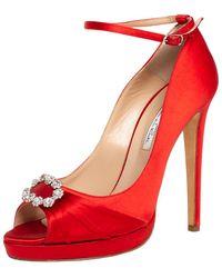 Oscar de la Renta Red Satin Crystal Embellished Peep Toe Ankle Strap Pumps