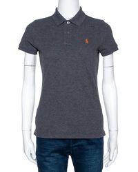 Ralph Lauren Grey Cotton Pique Skinny Polo T-shirt