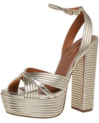 Aquazzura Gold Leather Platform Sundance Ankle Buckle Sandals - Metallic