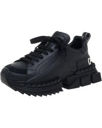 Dolce & Gabbana Black Suede And Leather Super King Low Top Sneakers
