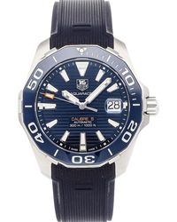 Tag Heuer Blue Stainless Steel Aquaracer Calibre 5 Way211c.ft6155 Wristwatch 41 Mm